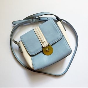 Baby blue and cream small cross body bag